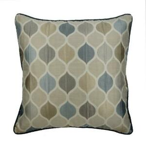 Designer Pillow Cover Beige 20x20 inch, Jacquard Lattice - Teal Tranquility