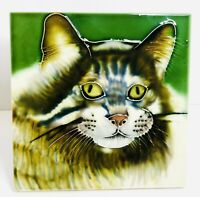 Cat Face Decorative Raised Ceramic Art Large Tile 6in x 6in with foldout stand