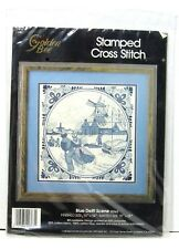 "1988 Sealed Golden Bee 20363 Blue Delft Scene Stamped Cross Stitch 14"" X 14"" Kit"