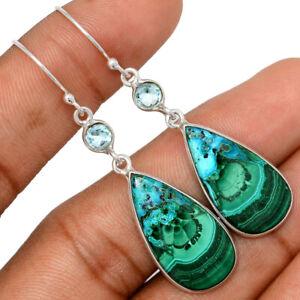Malachite In Chrysocolla & Blue Topaz 925 Silver Earrings Jewelry BE67654