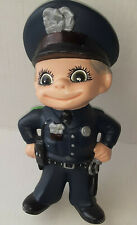 "Ceramic Policeman Navy Uniform Black Cap Gun Night Stick Hands On Hips 8.25""Cute"