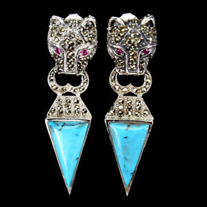 Fancy Blue Turquoise 17x12mm Ruby Marcasite 925 Sterling Silver Tiger Earrings
