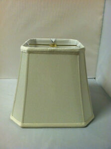 "18"" Off-White Square Cut Corner Lampshade Shantung Silk Lamp Shade Cream Fabric"