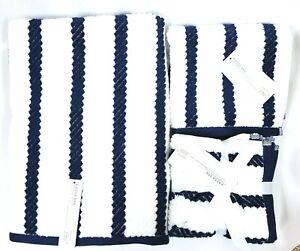 KASSA SPA WHITE,NAVY BLUE QUICK DRY ZERO TWIST COTTON BATH,HAND,WASH CLOTH TOWEL