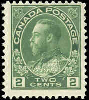 Mint H 1923 Canada F Scott #107e 2c King George V Admiral Stamp