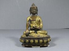Kleine alte Buddhafigur BUDDHA Bronze ? vergoldet Lotusthron Siam Asien Skulptur
