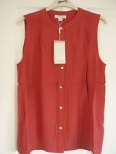 MONSOON THELMA RED PLEAT FRONT SLEEVELESS BLOUSE TOP UK 18, EUR 46, US 14 BNWT.