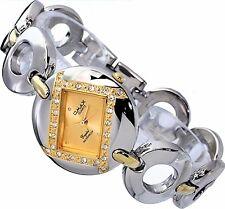 OmaxDamen Uhr Armbanduhr Silber Gold Farben Strass Metall