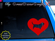 Basset Hound in HEART - Vinyl Decal Sticker / Color Choice - HIGH QUALITY