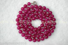 Natural New AAA 8mm Rose Red Jade Topaz Gems Round Necklace Long 36 Inch