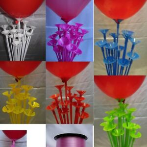 Party Balloon Sticks and Cups No Helium Choose 10 Colour & Quantity Birthday