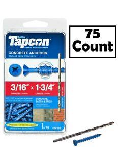 "TAPCON 24355 Concrete Anchor 3/16"" x 1-3/4"" Phillips Flat Head 75-Pack"