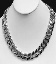 """Link 36"""" 18mm 695 grams chain/Necklace 10k Solid White Gold Miami Cuban Curb"""