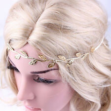 Vine Leaf Headband Gold or Silver Elastic Back Stretch Fit Foil Fabric Head Band