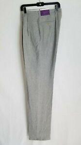 NEW Ralph Lauren Purple Label Mens Grey Linen Blend Dress Pants Sz 34 Italy D206