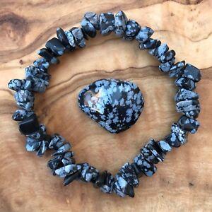 Snowflake Obsidian Gem Chip Bracelet and Tumblestone Set Grounding Root Chakra