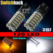 2X 3157 Dual Color Switchback White Amber LED Turn Signal Light Bulbs+Resistors
