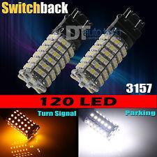 2X 3157 Dual Color Switchback White Amber LED Turn Signal Light Bulbs+Resistors
