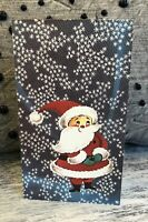 1 Vintage Retro Santa In Snow Blizzard Hawthorne Christmas Greeting Card NOS