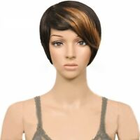 Female Synthetic Hair Wigs Short Straight Colored Bangs Costume Heat Resistant