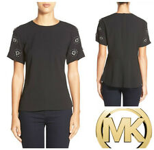 MICHAEL KORS  EMBELLISHED  SLEEVE  PEPLUM  BACK  TOP   Sz XS    NEW  $ 140