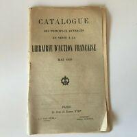 Catalogue Delle Principale Lavori IN Vendita La Libreria Azione Francese 1929
