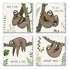 Highland Home Assorted Tumbled Tile Coaster Set - Sloths Say