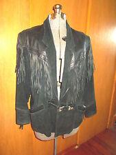 Vintage Womens WHIPP BLACK LEATHER FRINGE BOHO BIKER WESTERN Jacket Size M