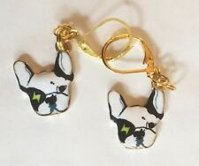 FRENCH BULLDOG DOG ENAMEL BLACK GOLD TONE HANDMADE EARRINGS FOR PIERCED EARS