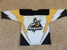 Vintage STOCKTON THUNDER Hockey Jersey Youth XL Defunct Team WHITE Yellow BLACK
