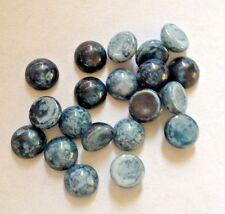 10 x Chiazzato in Vetro Blu Vintage UnFoiled Flatback Cabochon - 6mm