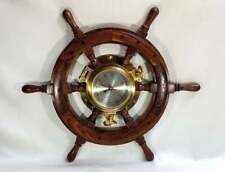 Vintage Wood Ships Helm and Brass Port Hole Wall Clock by Ships Time