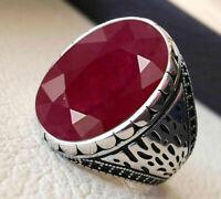 925 Sterling Silver Certified Handmade Pink Ruby Gemstone Christmas Mens Ring