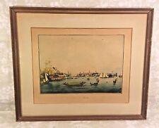 "Ant French ""Vue De Boston"" Harbor Print in Frames by Engraver Ambrose Garneray"