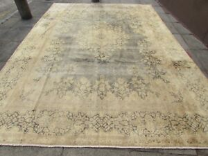 Old Hand Made Traditional Persian Wool Faded Blue Distressed Carpet 416x292cm