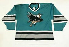 Vintage CCM Maska San Jose Sharks NHL Hockey Jersey Man L Teal USA Sewn