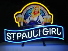 "St Pauli Girl Bier 14""x10"" Neon Sign Lamp Light Beer Bar With Dimmer"