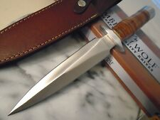 Timber Wolf Stacked Leather Combat Dagger Knife Full Tang Dual Edge 13