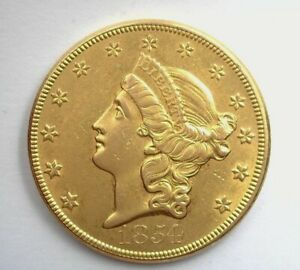 1854 LIBERTY HEAD $20 GOLD NEAR CHOICE UNCIRCULATED LARGE DATE!! EXTRA RARE!!