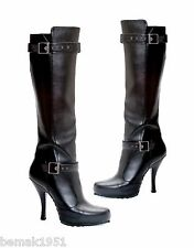 "Black Knee High Boots Buckle Detail 1/2"" Platform 4.5"" Heels 423-Anarchy 9 M NIB"
