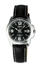 Casio LTP1314L-8A Ladies Black Leather Casual Dress Watch Ion-Plated Case Bezel