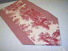 """53"""" RED ON CREAM~WAVERLY Country Life Toile/Checked~Lined Tablerunner Tassels!"""