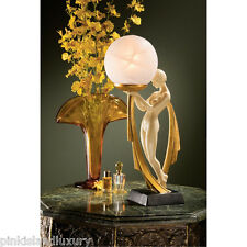 """16"""" NUDE LADY LAMP SCULPTURE Art Deco Statue Frosted Glass Globe Illuminated Orb"""