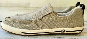 Margaritaville Jimmy Buffett Canvas Khaki Stitched Loafer Slip On Shoes Sz 10.5