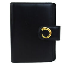 Authentic CARTIER Logos Panther Agenda Notebook Cover Leather Black 01Q377
