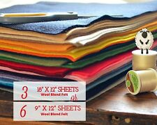 YOU SELECT Merino Wool Felt Blend Fabric 3 or 6 Sheet Bundle Craft, Sew, Create
