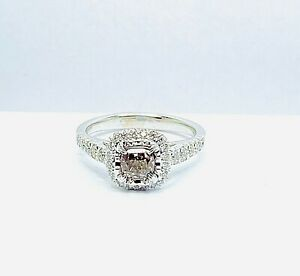 Fancy Natural Brown Diamond 0.67ct. Cushion Square Ring White 18k. Ring Size M