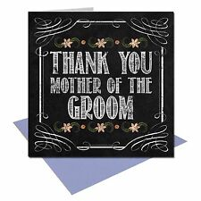 Vintage Chalkboard Thank you Mother of the Groom wedding card shabby chic