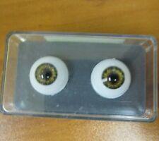 Vintage New Glastic Realistic Eyes Craft Doll Parts NOS 16 mm Hazel Green