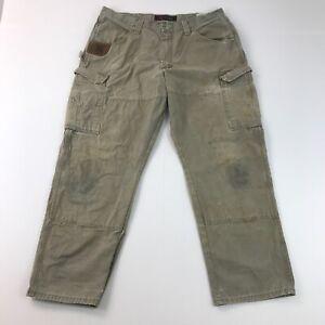 Wrangler Riggs Pants 38x30 Green Canvas Carpenter Cargo Straight Fit Mens D9_16